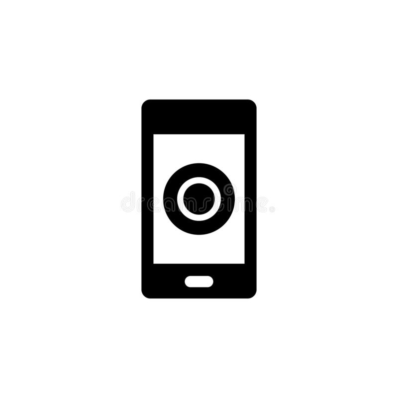 Mobile, record vector icon. Simple element illustration from UI concept.  Mobile concept vector illustration. Mobile, record. Vector icon on white background royalty free illustration