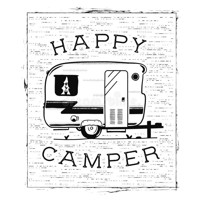 Mobile recreation. Happy Camper trailer in sketch silhouette style. Vintage hand drawn camp rv. House on wheels. Travel. Transport emblem. Stock vector isolated vector illustration