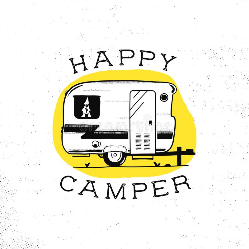 Mobile recreation. Happy Camper trailer in sketch silhouette style. Vintage hand drawn camp rv. House on wheels. Travel stock illustration