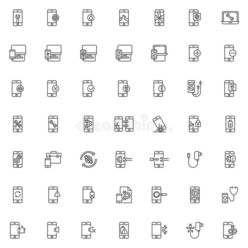 Mobile repair service line icons set. Linear style symbols collection, outline signs pack. vector graphics. Set includes icons as screen protector glass stock illustration