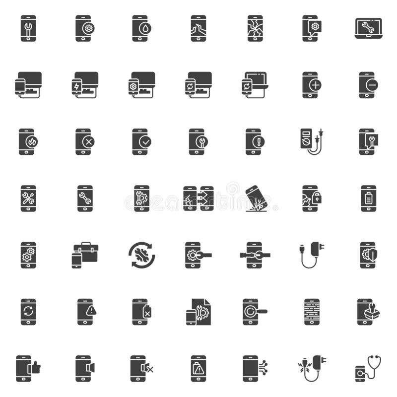 Mobile repair service vector icons set. Modern solid symbol collection, filled style pictogram pack. Signs, logo illustration. Set includes icons as screen royalty free illustration