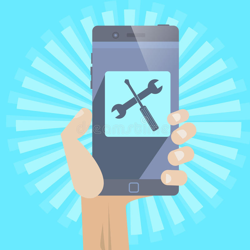 Mobile Repair. Smartphone repair ,support concept icon whit hand vector illustration