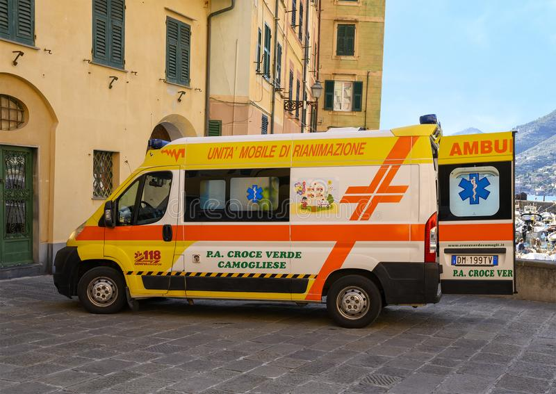 Mobile resuscitation unit operated by Croce Verde Camogliese headquartered in Camogli, Italy stock photos