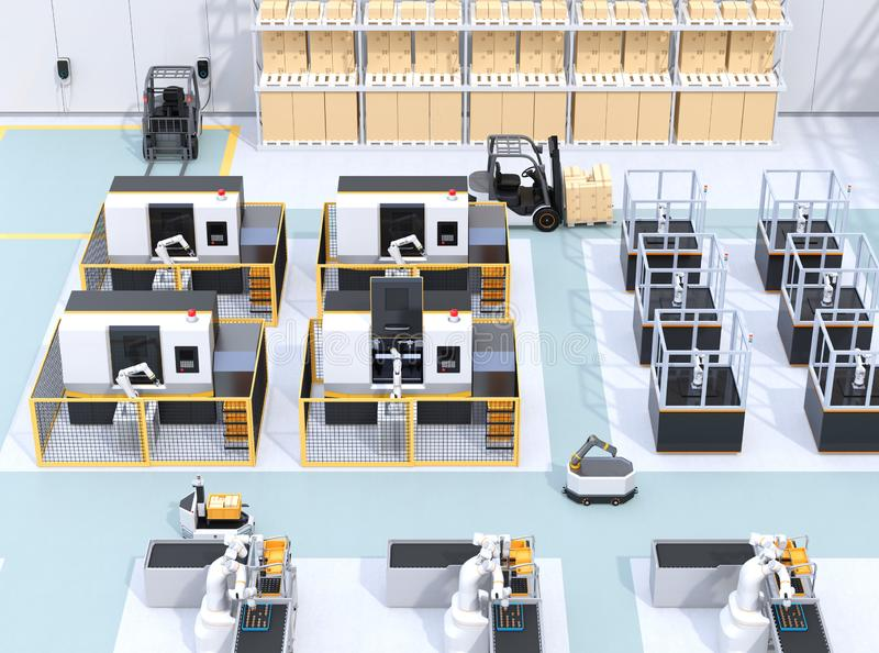 Mobile robots, dual-arm robots, assembly robot cells and CNC machines in smart factory. 3D rendering image vector illustration