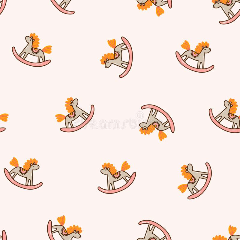 Rocking horses on the pink background. Seamless pattern for children fabric design or nursery wallpaper. Vector illustration in ha. Rocking horses on the pink stock illustration