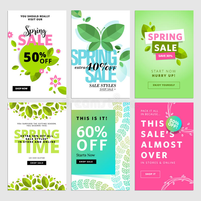 Mobile sale banner templates. Spring sale banners. Vector illustrations of online shopping website and mobile website banners, posters, newsletter designs, ads royalty free illustration