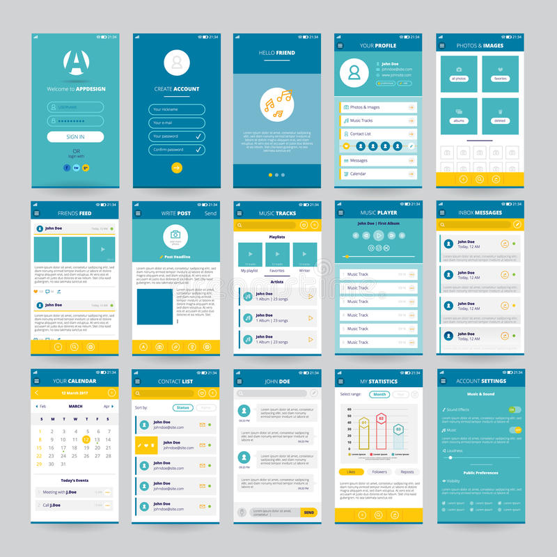 Mobile Screens With UI Set vector illustration