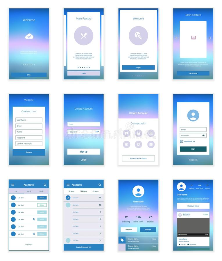 Mobile Screens User Interface Kit. Modern user. On boarding wizard template for modern user interface vector illustration