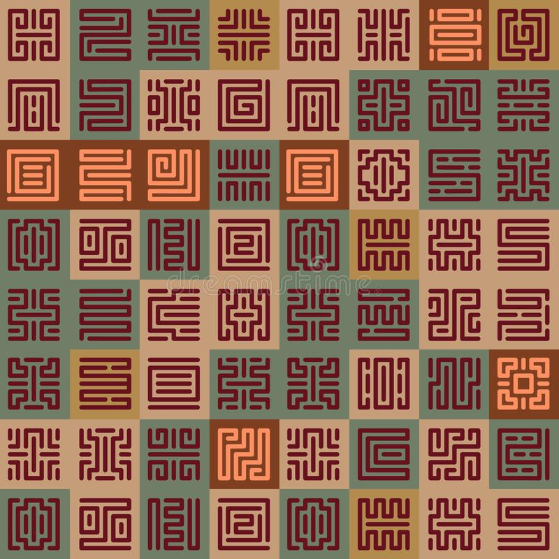 Geometric seamless pattern with runes stock illustration