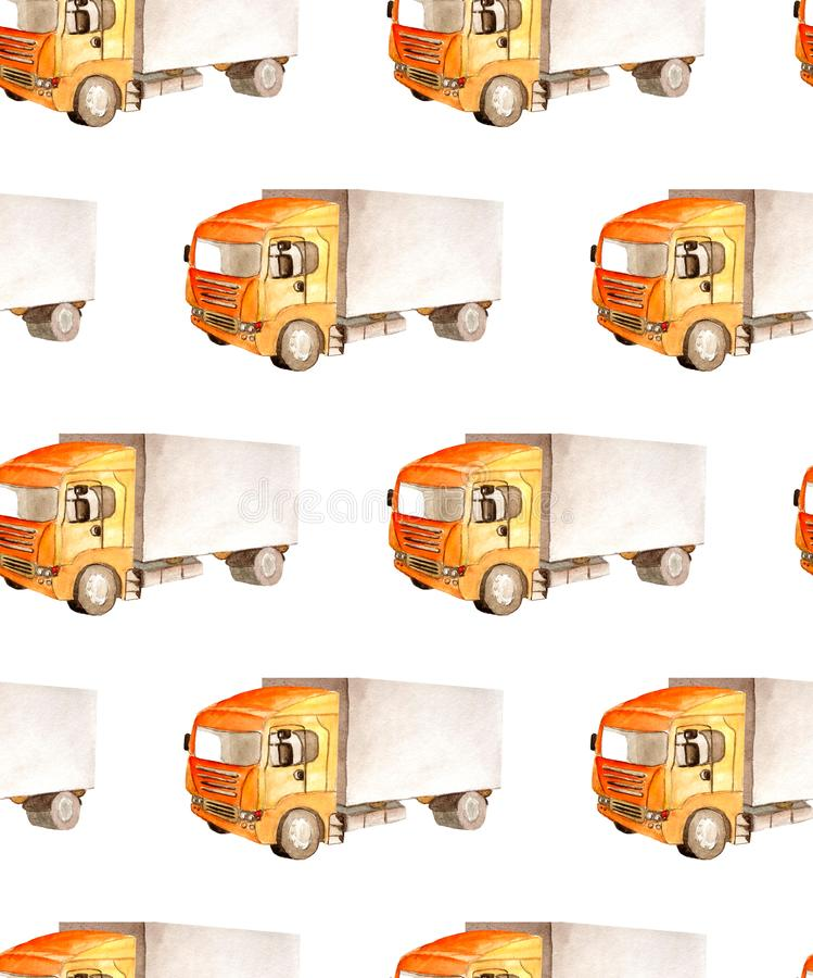 Seamless pattern transport and logistic of lorry truck with orange cab and gray bodywork. 4 wheels in watercolor isolated on white background for textile or stock illustration