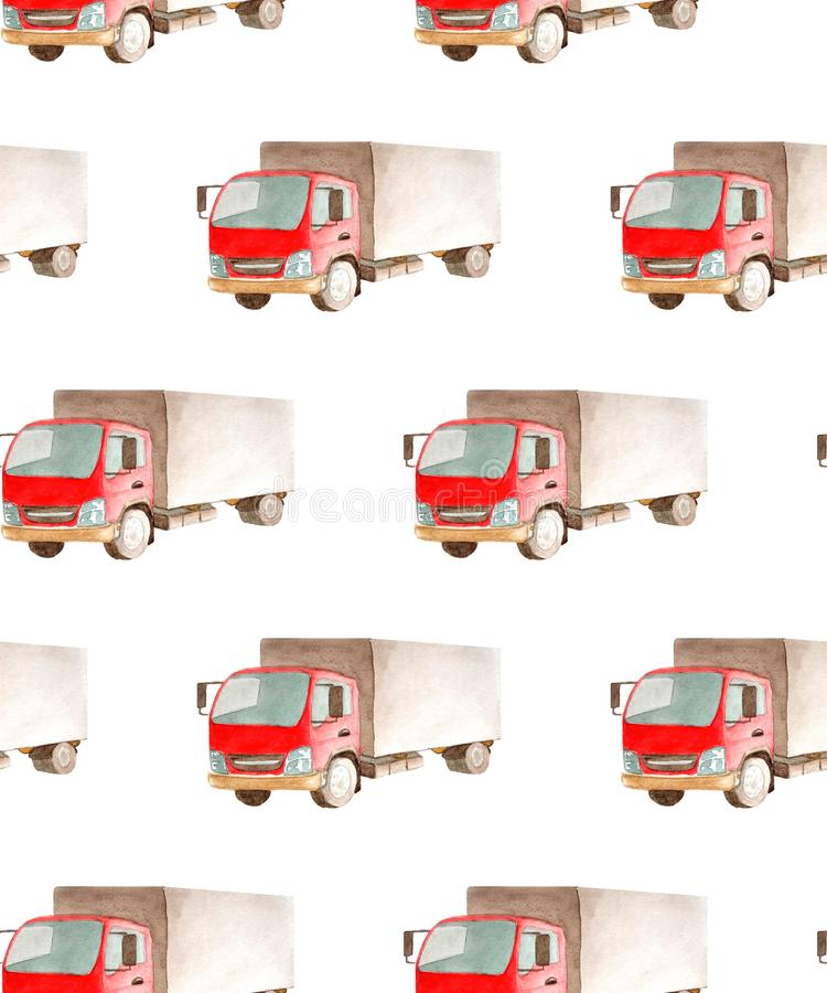 Seamless pattern transport and logistic of lorry truck with red cab and gray bodywork. 4 wheels in watercolor style isolated on white background  for textile or vector illustration