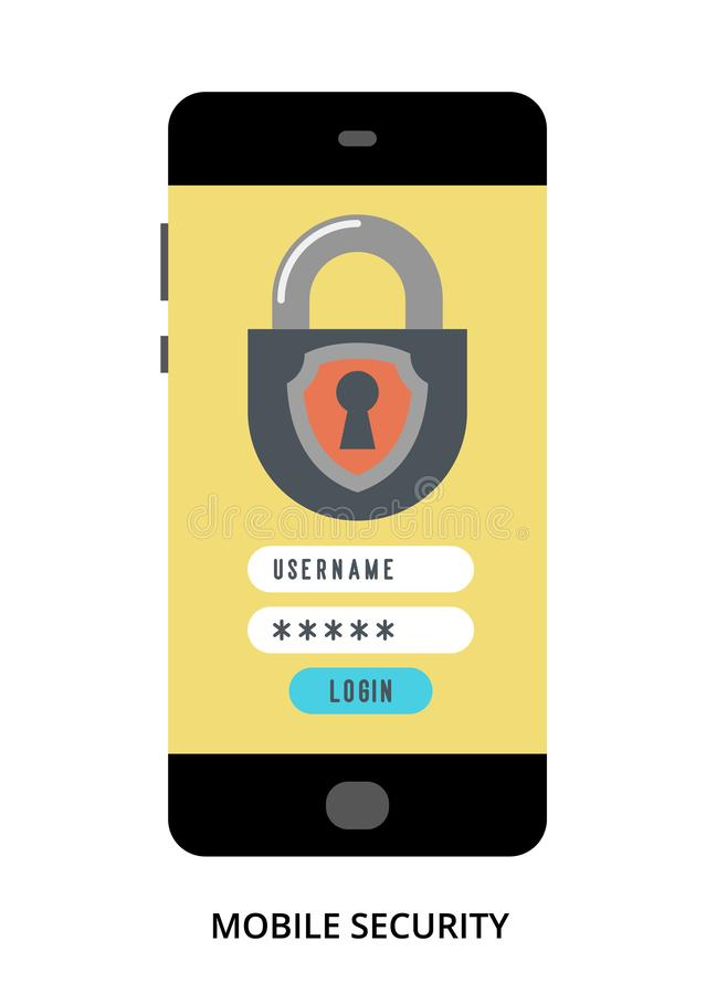 Mobile Security concept on black smartphone with different user interface elements. Flat vector illustration royalty free illustration