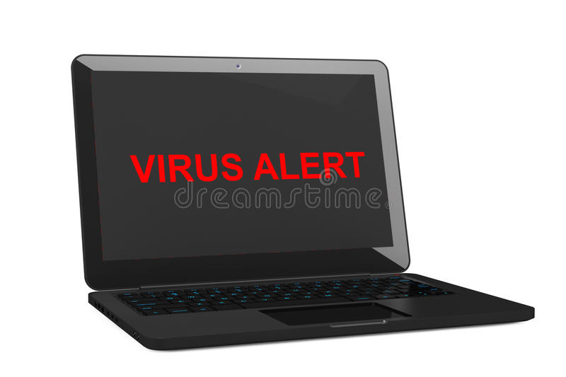 Mobile Security Concept. Virus Infected Laptop. 3d Rendering royalty free illustration