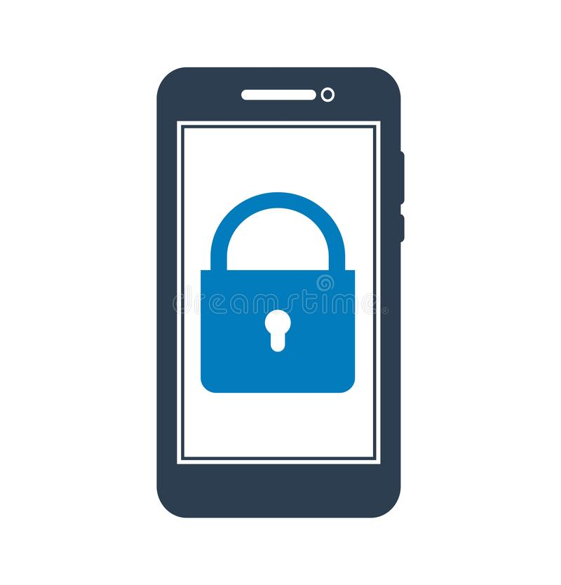 Mobile Security Icon. stock illustration