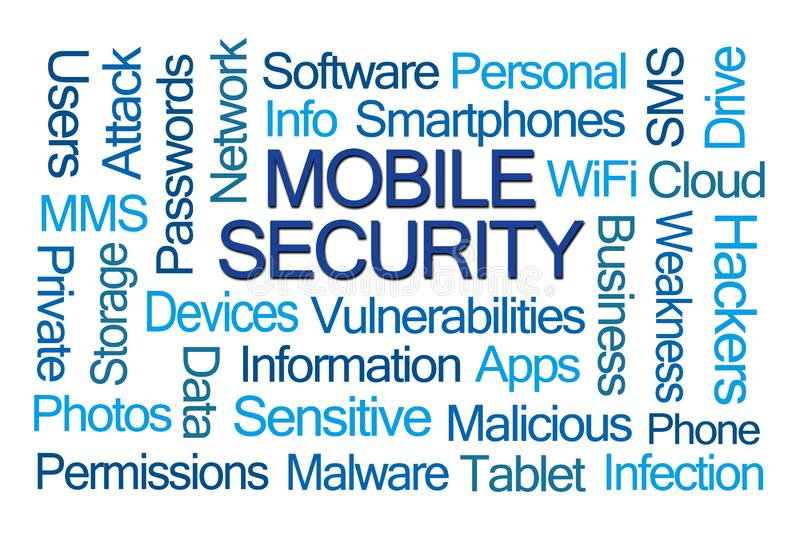 Mobile Security Word Cloud royalty free illustration