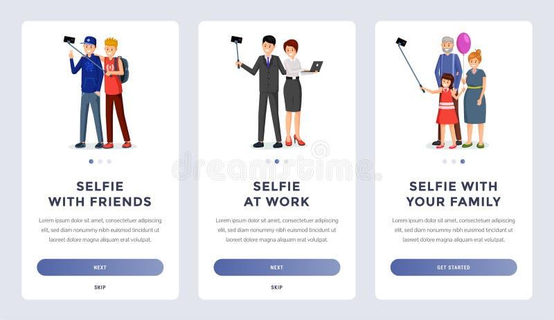 Mobile selfie application onboarding screens set vector illustration