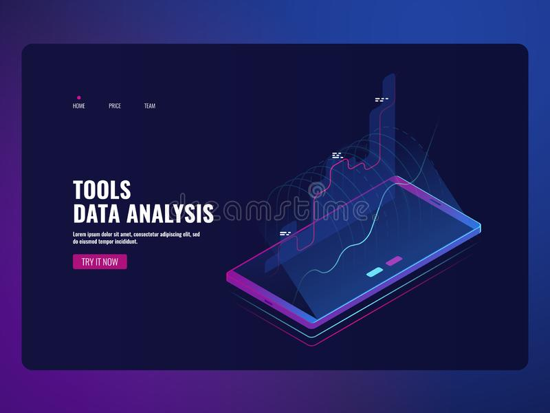 Mobile service data analysis and information statistic, financial report, online bank icon isometric vector illustration. Dark neon ultraviolet stock illustration