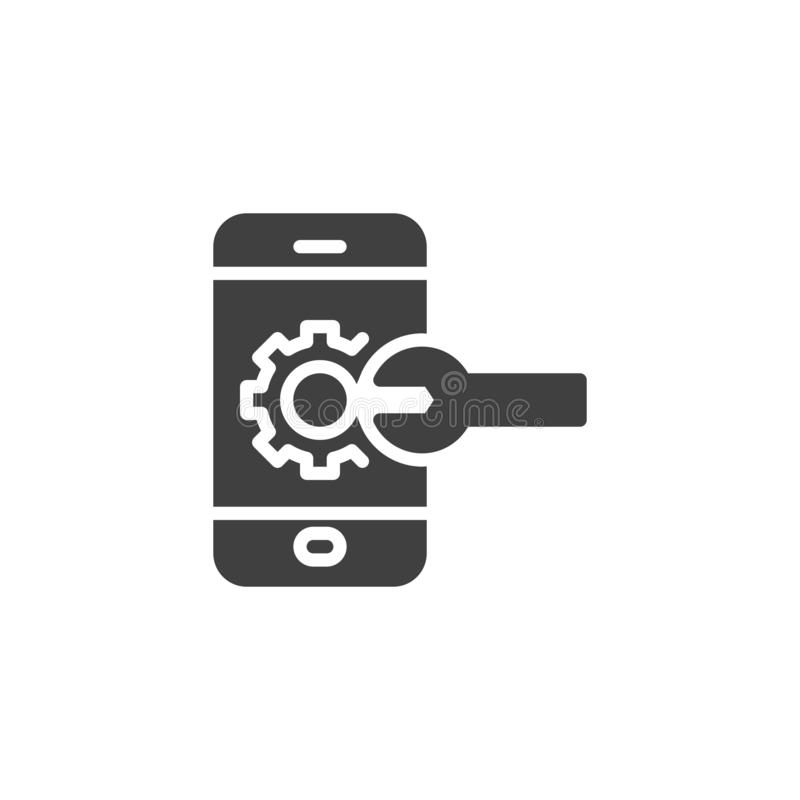 Mobile service vector icon. Smartphone with gear and wrench filled flat sign for mobile concept and web design. Phone repair glyph icon. Symbol, logo royalty free illustration