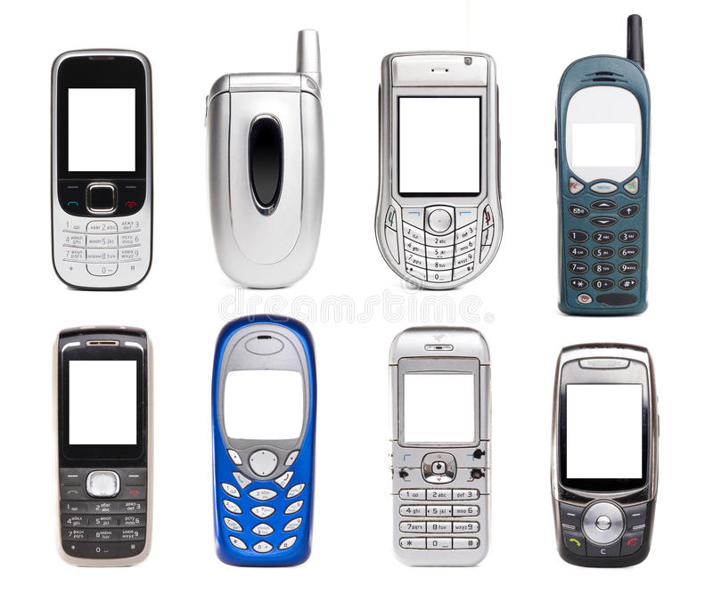 Mobile set. Mobile phones set isolated on white royalty free stock image