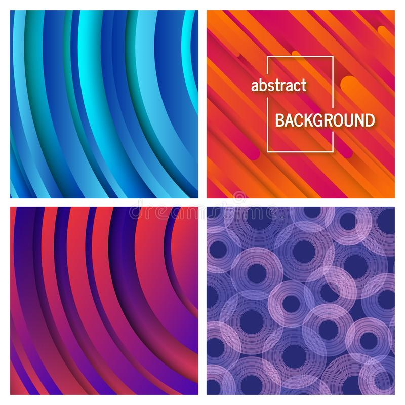 Set of four abstract geometric background stock photo