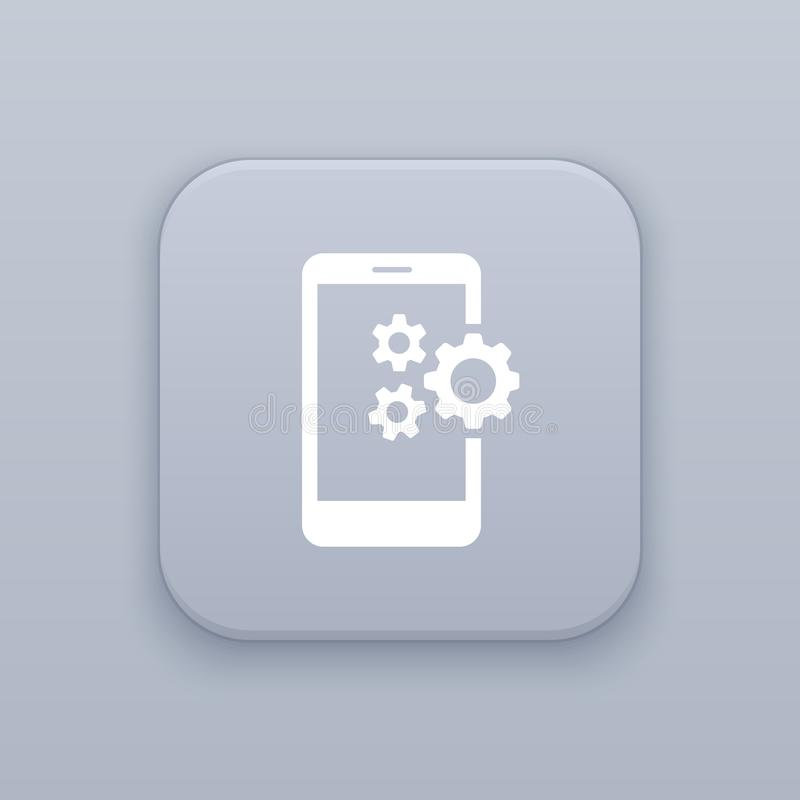 Mobile settings, gray vector button with white icon vector illustration