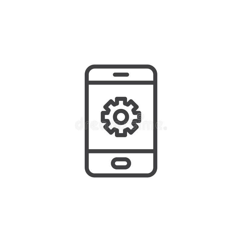 Mobile settings screen line icon stock illustration