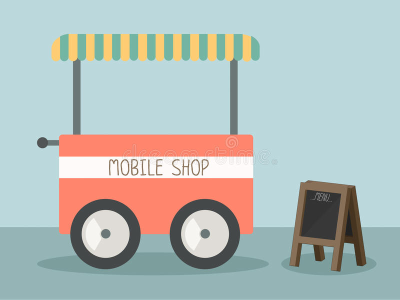 Mobile shop. With black board vector vector illustration