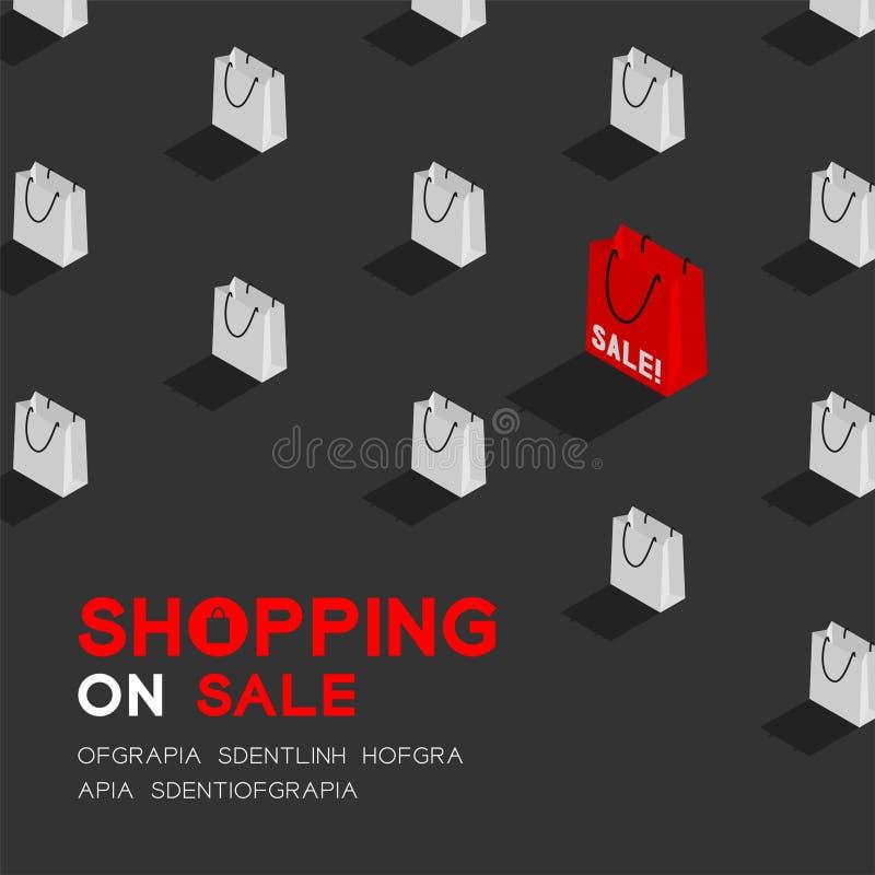 Shopping bag 3D isometric pattern, Sale promotion concept poster and banner square design illustration isolated on dark grey backg vector illustration