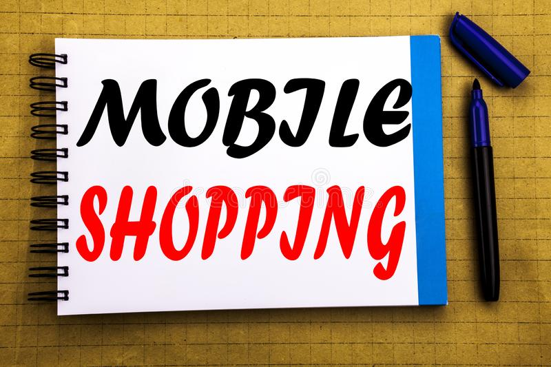 Mobile Shopping. Business concept for Cellphone online order Written on notepad note paper background with space office view with. Mobile Shopping. Business royalty free stock photo