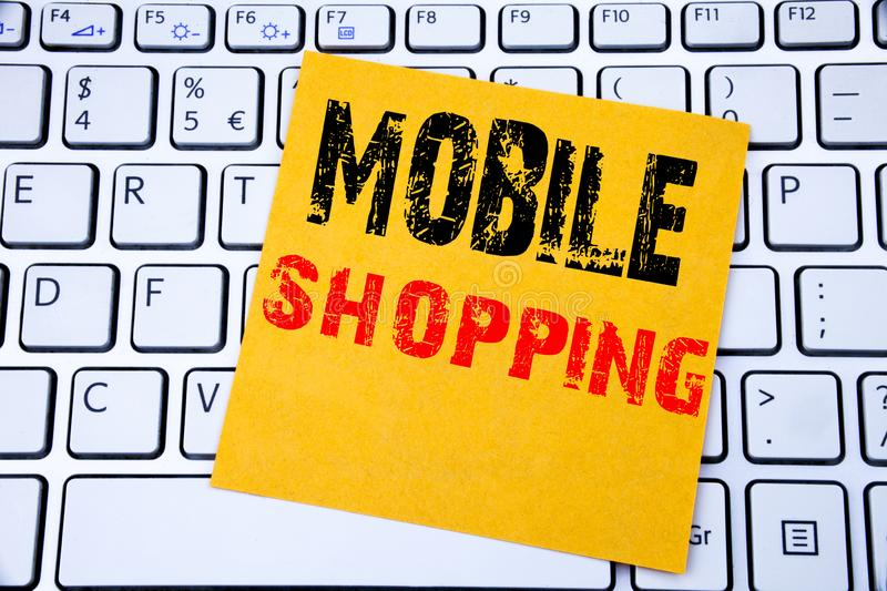 Mobile Shopping. Business concept for Cellphone online order written on sticky note paper on the white keyboard background. Mobile Shopping. Business concept stock photos