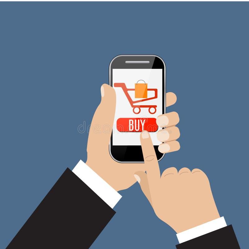 Mobile shopping button vector illustration