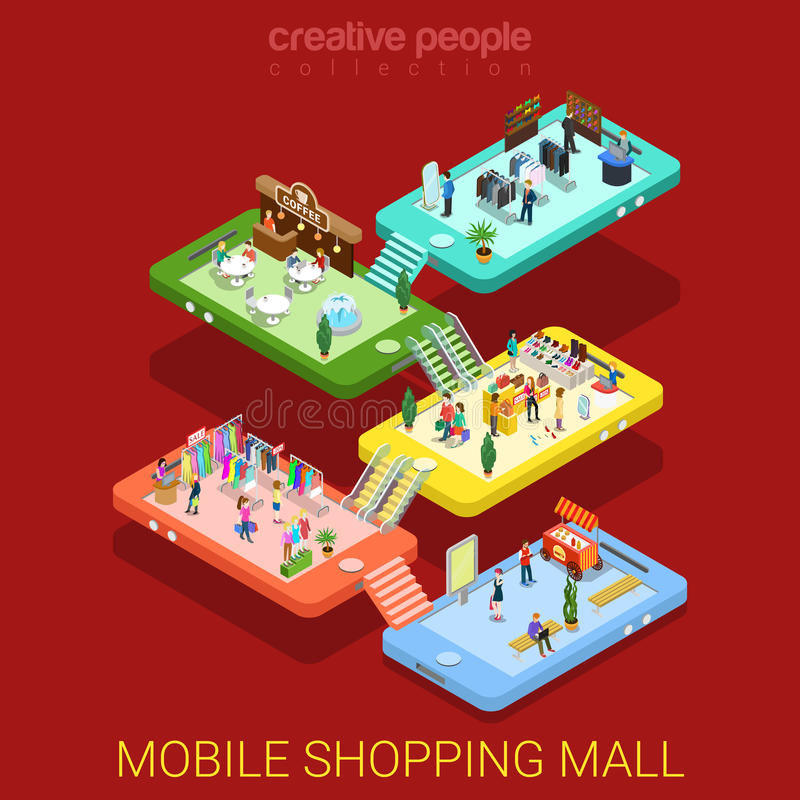 Mobile shopping mall interior sale store flat isometric vector vector illustration