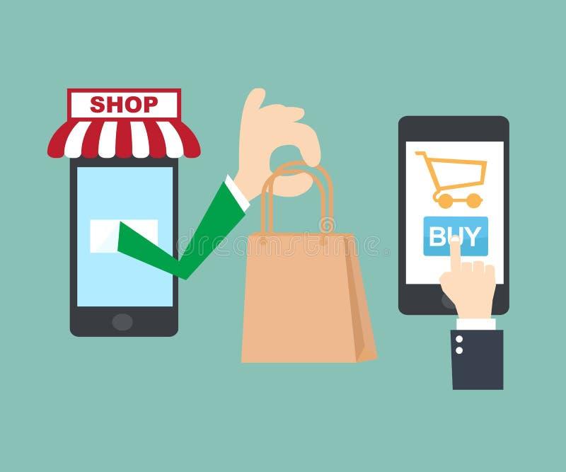 Mobile shopping online stock vector illustration of cart for Mobili shop on line