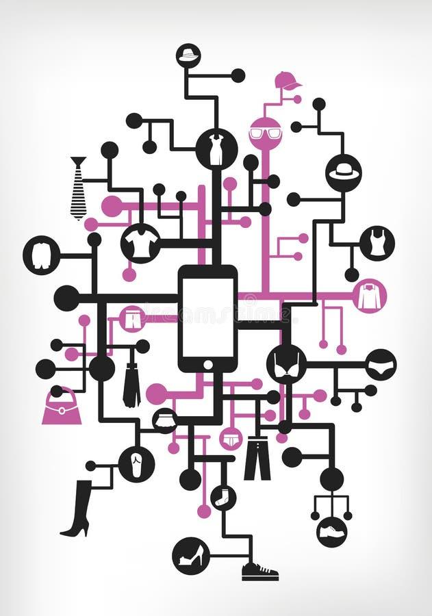 Mobile shopping vector illustration