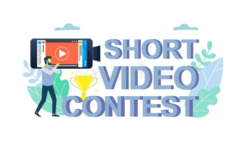 Mobile short video contest vector concept for web banner, website page. Mobile short video contest vector flat illustration. Short film competition. smartphone vector illustration