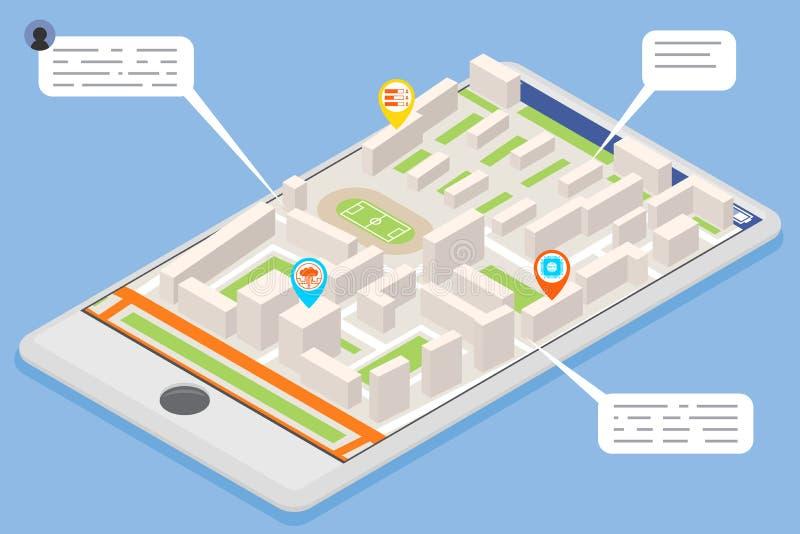 Mobile smart phone landmark showplace map pointer mark isometric city street road map urban place landmark town 3d flat stock illustration