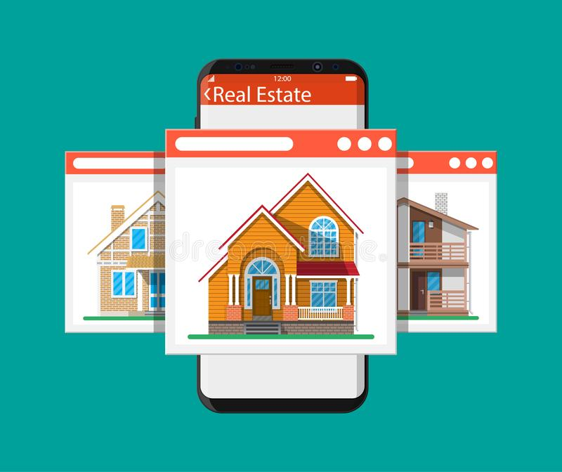 Mobile smart phone with real estate app royalty free illustration