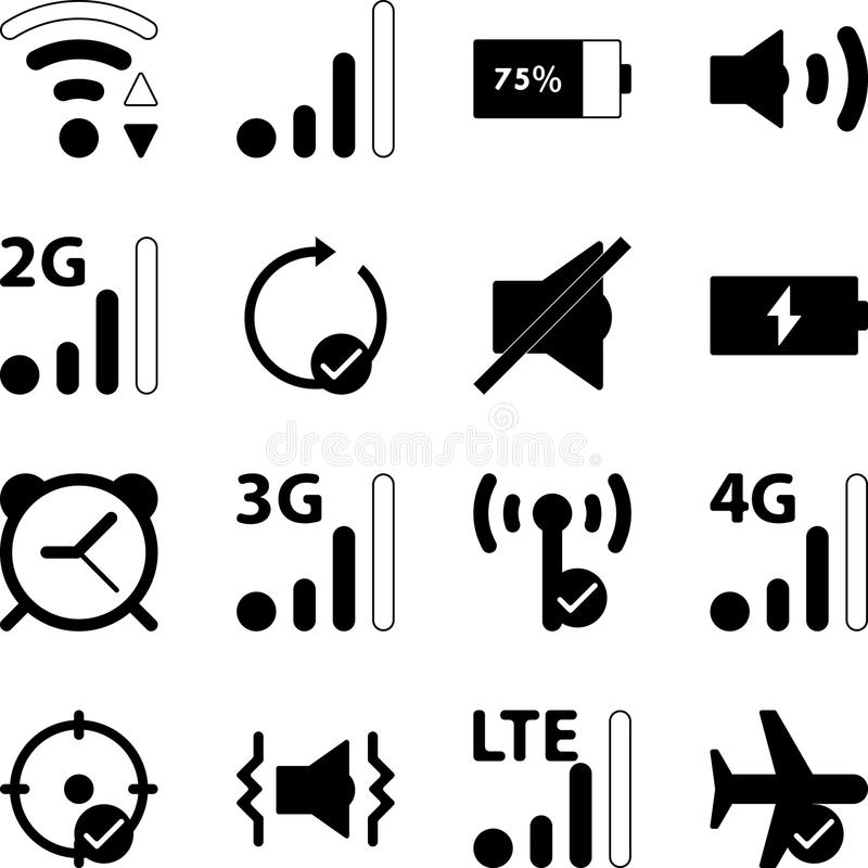 Mobile Smart Phone Settings Vector Icon Collection vector illustration