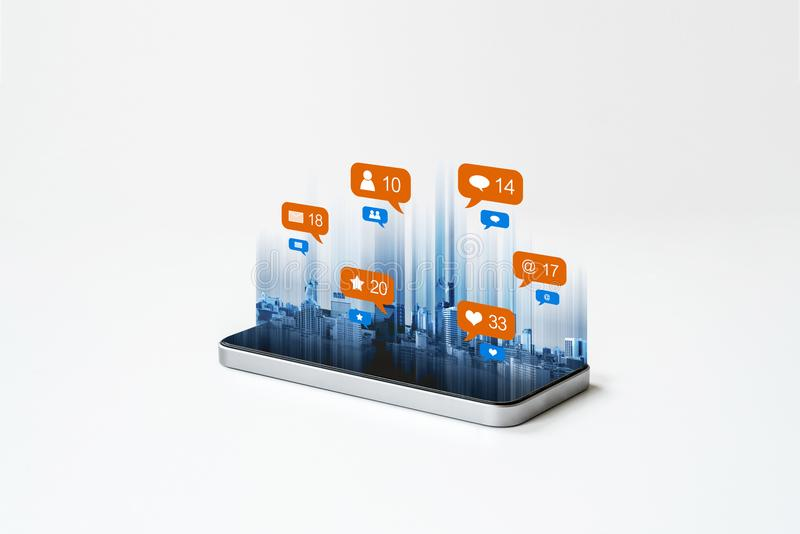Mobile smart phone technology, with social media, social network notification icons. on white background. S royalty free stock photos