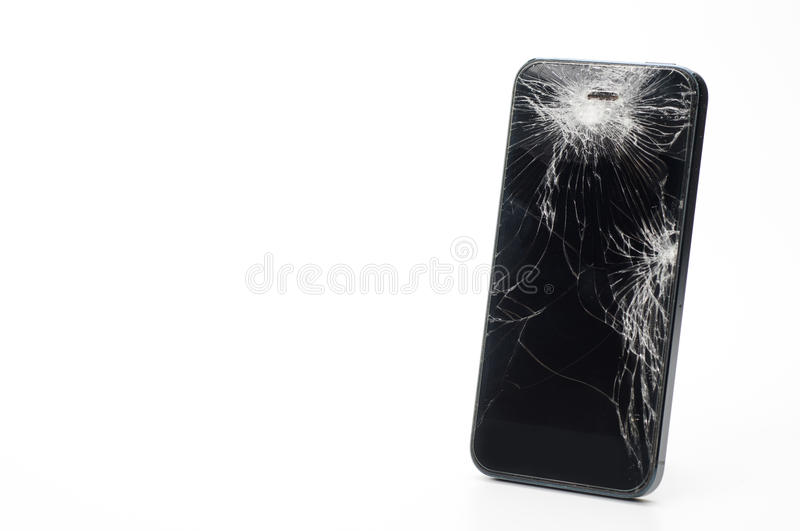 Mobile smartphone with broken screen isolated on white background with royalty free stock images