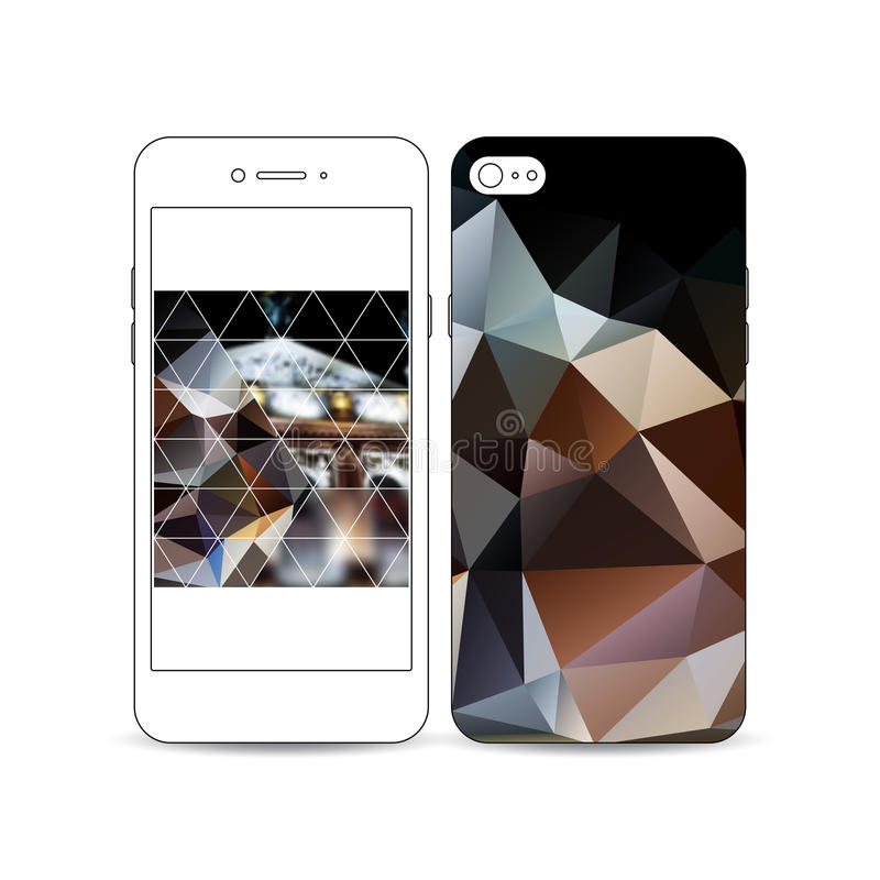 Mobile smartphone with an example of the screen and cover design isolated on white. Colorful polygonal background. Mobile smartphone with an example of the vector illustration