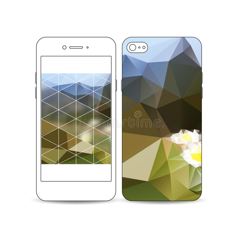 Mobile smartphone with an example of the screen and cover design on white. Summer landscape. Colorful polygonal stock illustration