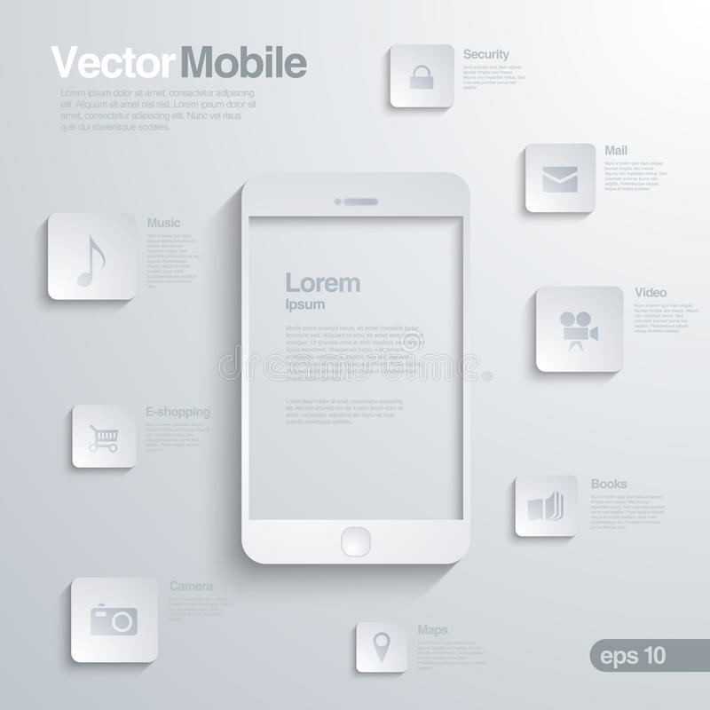 Mobile Smartphone with icon interface. Infographic. S. Elegant design concept of mobile technology vector illustration