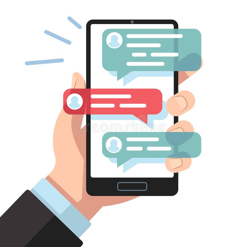Mobile sms notifications. Hand with smartphone with online texting messages. Dialogue interfaces, chatting application royalty free illustration
