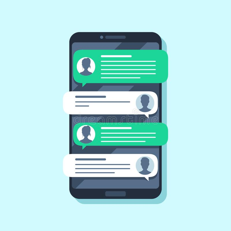 Mobile sms notifications. Hand texting message on smartphone, people chatting. Conversion flat vector illustration royalty free illustration