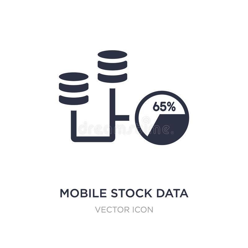 Mobile stock data icon on white background. Simple element illustration from Business and analytics concept. Mobile stock data sign icon symbol design stock illustration