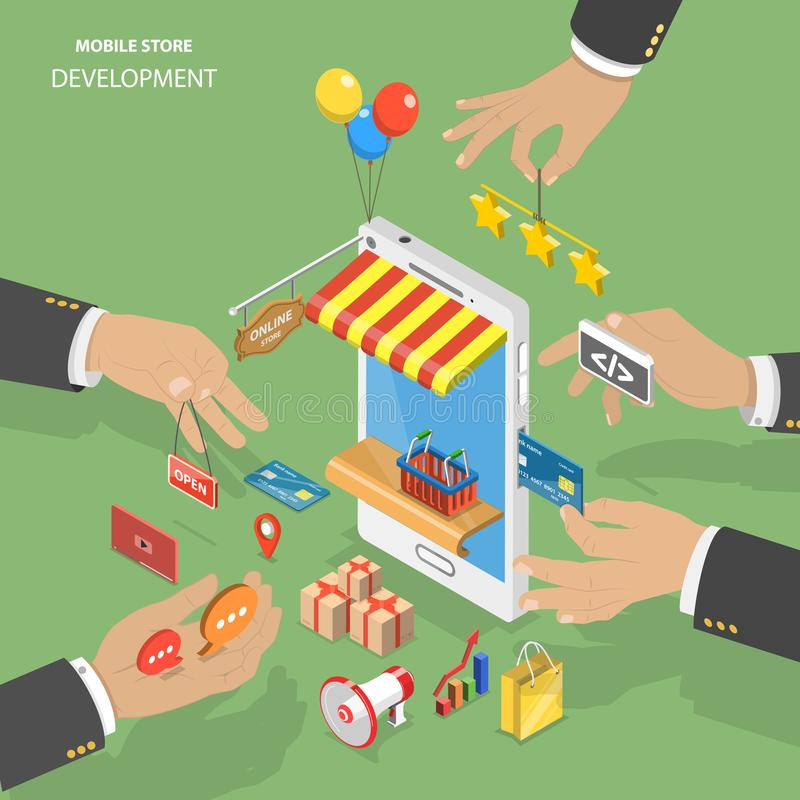 Mobile store development flat isometric low poly vector concept. vector illustration