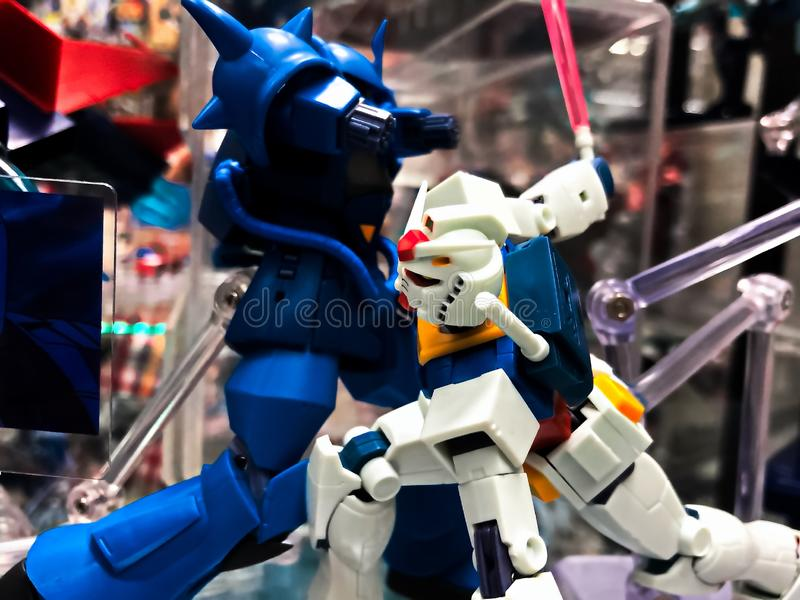 Mobile suit RX-78 GUINDAM and MS-07B Gouf plastic model. Osaka,Japan - Apr 13, 2019: Focused of royalty free stock photo
