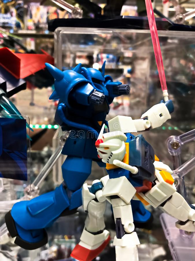 Mobile suit RX-78 GUINDAM and MS-07B Gouf plastic model. Osaka,Japan - Apr 13, 2019: Focused of royalty free stock images