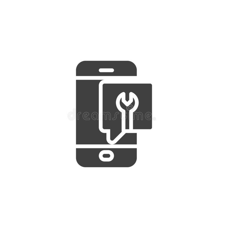 Mobile support message vector icon. Filled flat sign for mobile concept and web design. Smartphone repair service glyph icon. Symbol, logo illustration. Vector royalty free illustration